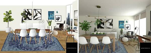 2 images side by side of a living room in 2D and 3D