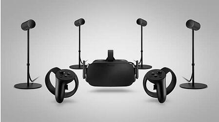 The Oculus Rift is made up of a headset, two hand controllers, and 4 positioning cameras.  Our VR headset comparison has to contain this poster child for VR.