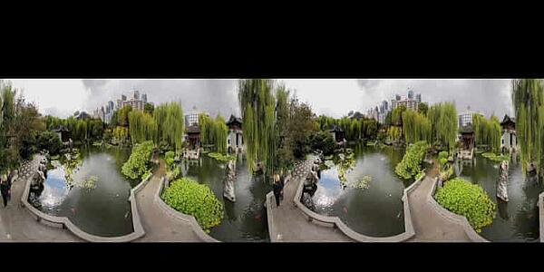 Stereoscopic 360 photography to vr featuring a garden scene