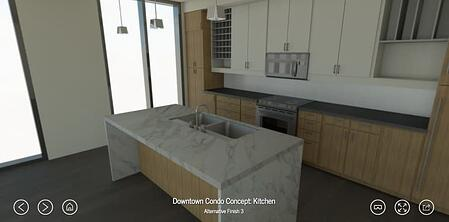 Yulio VR real estate image of a kitchn plan with marble counters and light wooden cabinets