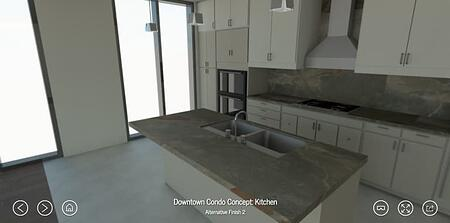 the dame kitchen rendering with gray countertops and white cabinets