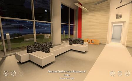 Condo building lobby with mmodern white couches, walls and floor shown in a VR format