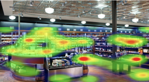 heatmap data appears on a VR scene as green red and yellow areas of interest.