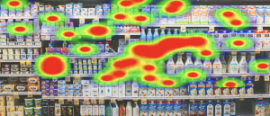 A grocery shelf with heatmap areas of interest overlay