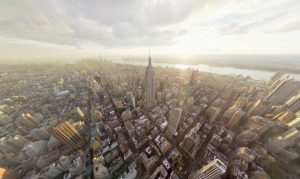 VR experience of a birds eye view of New York City