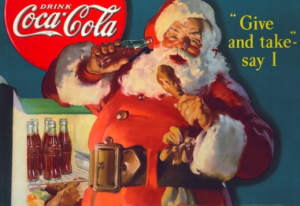 Coca-Cola  traditional Christmas marketing poster with Santa Claus Drinking a cola