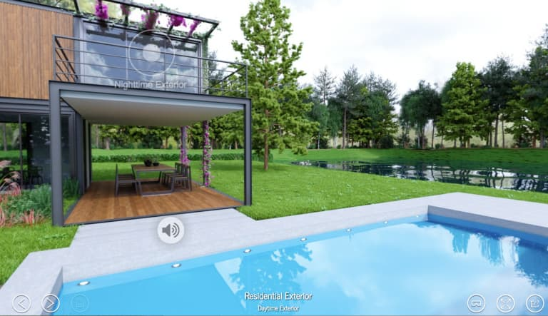 A VR experience created in Yulio lets clients explore their potential home