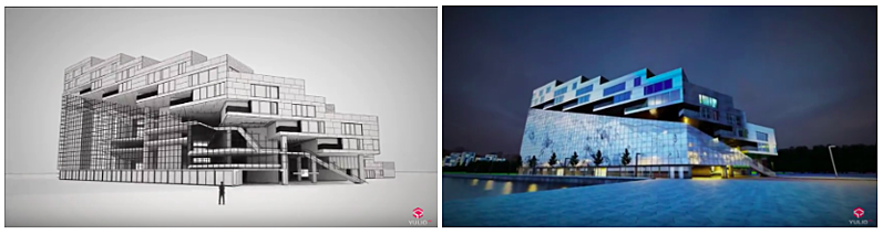 2 stages of rendering side by side