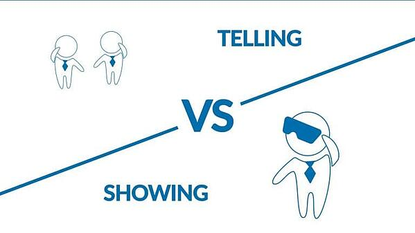VR icon: telling vs showing
