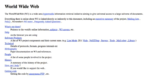 The first published website in 1991