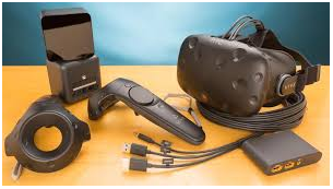 The HTC Vivie is made up of a headset, two hand controllers and 2 positioning