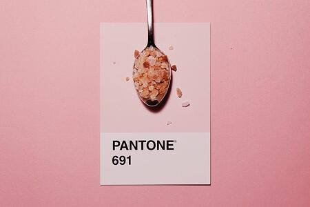 Pantone color swatch with pink salt on spoon