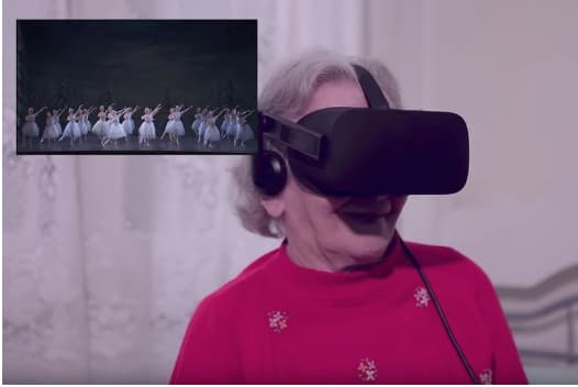 old lady wearing VR headset