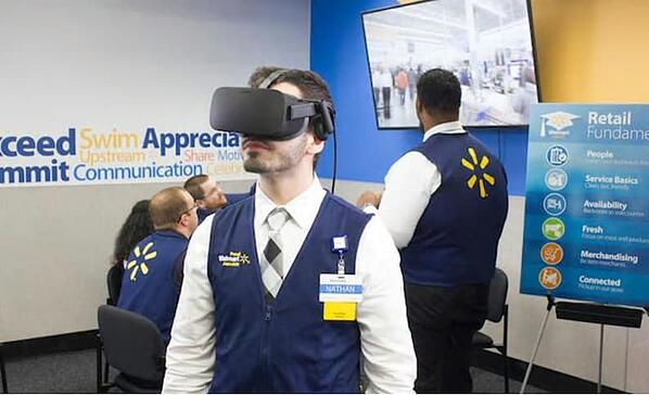 Wal-mart uses VR to train staff for hard-to-simulate scenarios such as Boxing day