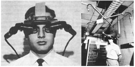 VR computer-powered head-mounted displays were introduced in 1968.