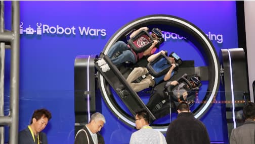 Samsung, a leading VR expert presents a 4D VR experience where users are strapped into a rollercoaster where they feel every twist turn and flip that it has to offer.
