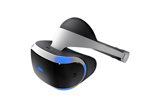 The Sony PlayStation VR's sleek headset.